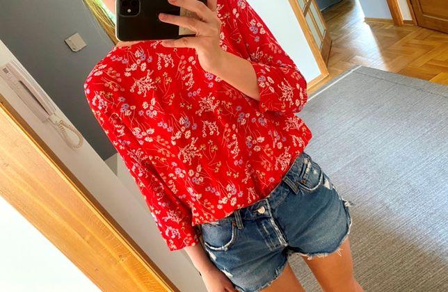 bluzka w kawiaty czerwona floral flower 36 38 s m reserved