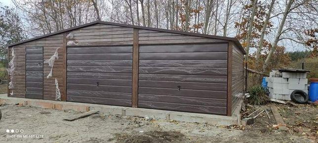 Garaż blaszany 9x6 orzech mat drewnopodobny