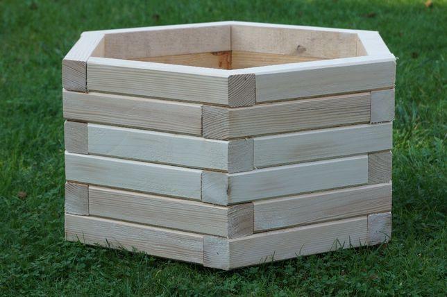 Donice drewniane sześciokątne, doniczka drewniana sześciokątna, 60 cm