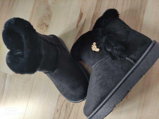 Czarne emu śniegowce zimowe buty dziecięce kozaki