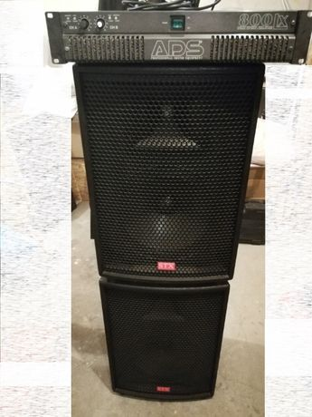 Kolumny Głośniki STX PA-600-8-FR + Wzmacniacz ADS LX-800 Końcowka mocy