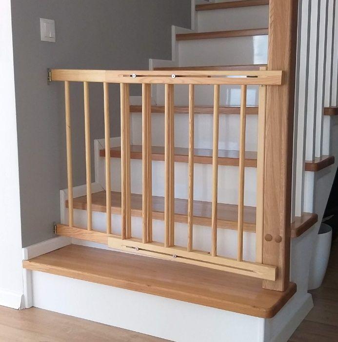 Nowa bramka ochronna zabezpieczająca drewniana na schody regulowana Włocławek - image 1