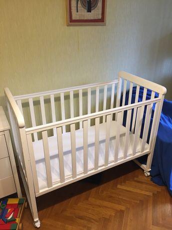 Детская кроватка белая Верес Соня ЛД 12 с матрасом + подарок бортик