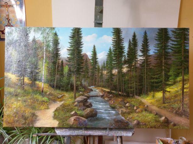 Картина «Лес»,масло ,ручная работа ,холст 130-70см