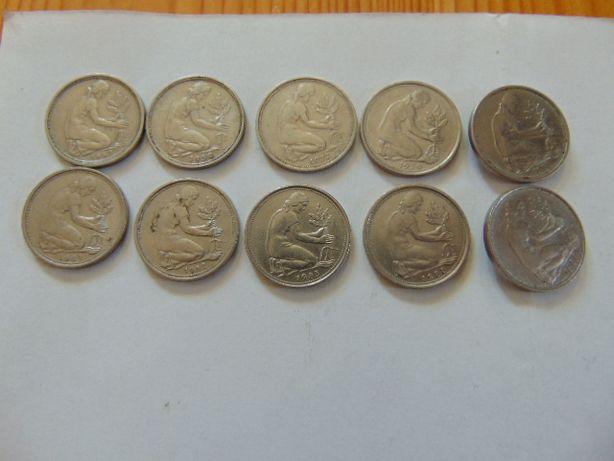 Monety niemieckie 50 fenigow,rożne roczniki