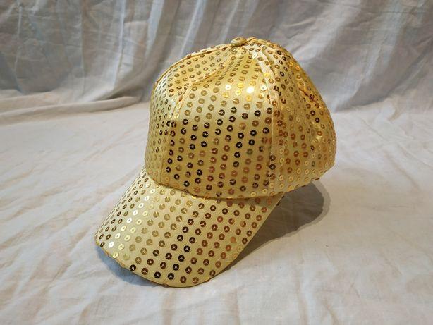 Czapka z daszkiem złota cekiny bling