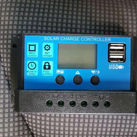 Controlador solar 30 amperes duas entradas usb 12v 24v