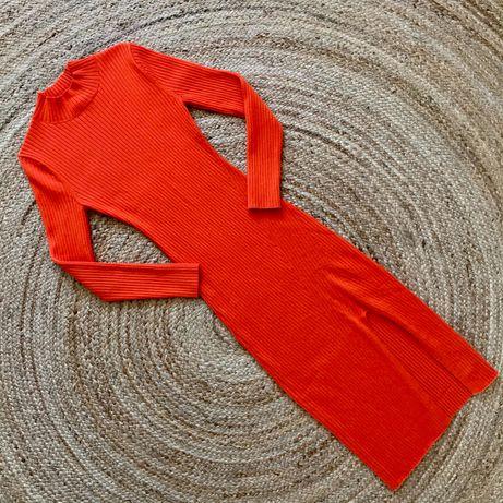 Pomarańczowa sukienka w prążki H&M