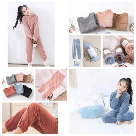 Домашний костюм теплый плюшевый пижама штаны худи кофта