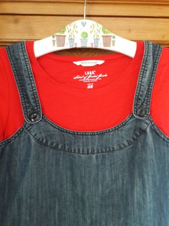 Obniżka-STREET ONE wygodna sukienka typ ogrodniczki denim r L i 40/42