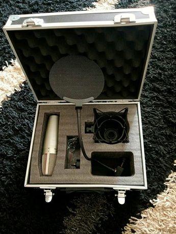 Mikrofon pojemnościowy,koszyk, popfilter,stojak