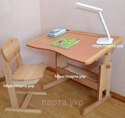 Комплект стол парта антисколиозная и стул растущий из дерева бук