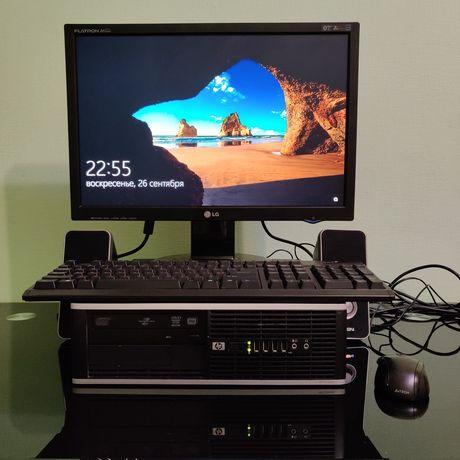Мощный  компьютер HP полный комплект. ПК + монитор + колонки + клава