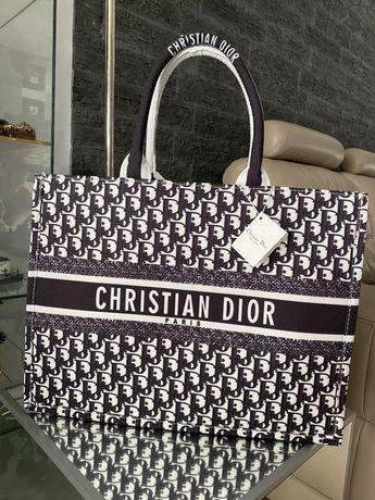 Duża torba Christian Dior zapinana na zamek shopper bag
