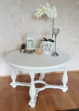 Stół bielony okrągły biały