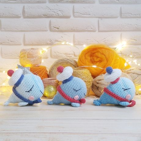 Готовое изделие Киты мягкая игрушка для новорожденных и малышей ручно
