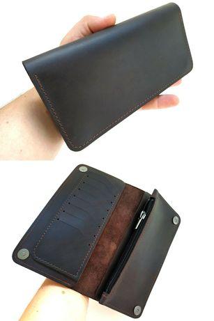 Кожаный кошелек на магнитах Ручная работа