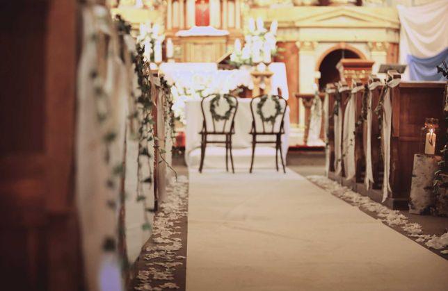 Sztuczne płatki róż białe matowe, ślub rustykalny/boho, kościół