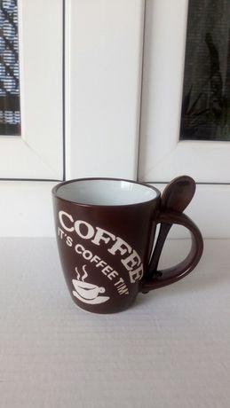 Kubek filiżanka Coffee z łyżeczką nowy