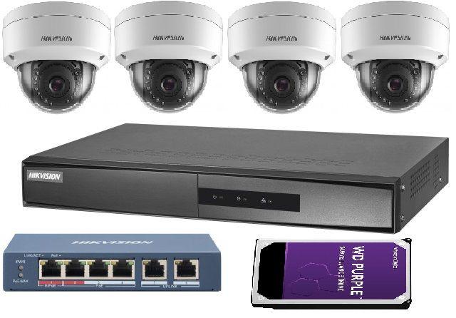 Zestaw Monitoring Hikvision IP 2Mpx 4x kamera, HDD 2TB, switch PoE