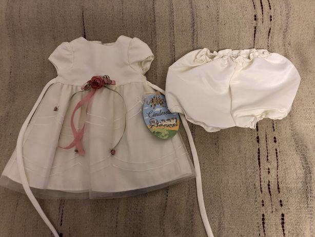 Przepiękny nowy komplecik Sukieneczka biała 6 miesięcy