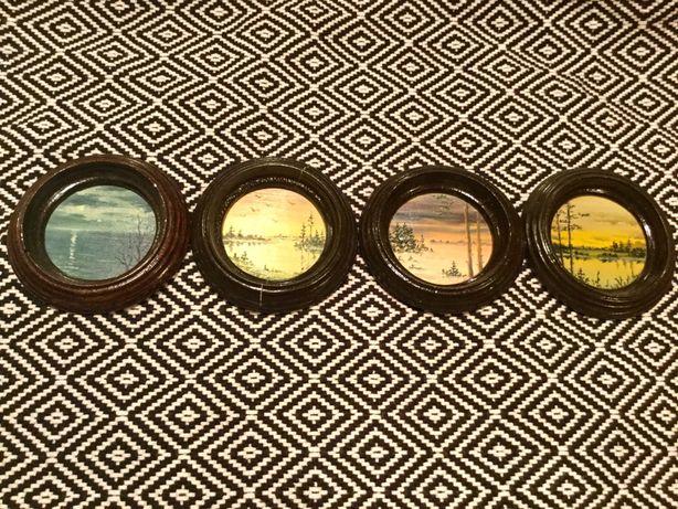 Художественные миниатюры масло по картону 75мм в диаметре