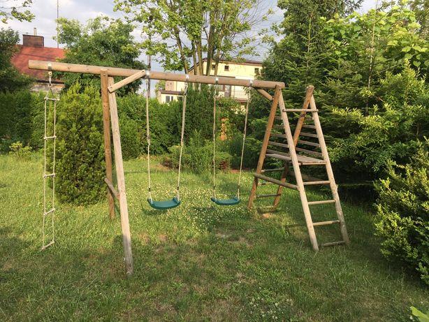 Huśtawka ogrodowa podwojna dla dzieci z drabinką i podestem