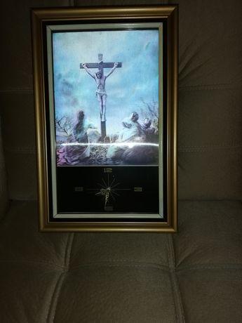 Obraz trójwymiarowy Pana Jezusa z zegarem.