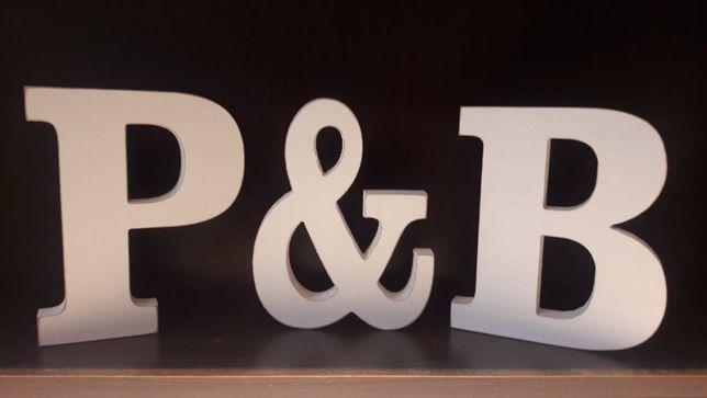 Litery ozdobne na stół P & B / B &P białe wesele dekoracja