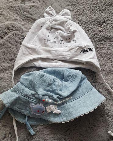Rozm. 68 czapeczka i kapelusz wiosenny dla dziewczynki