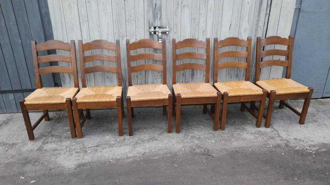 6x Krzesła dębowe dąb trawa morska zadbane komplet