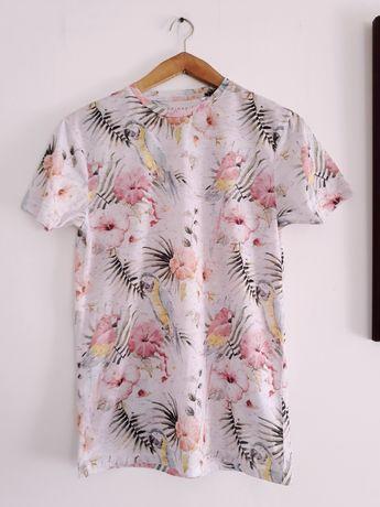 T-shirt męski papugi palmy kwiaty S
