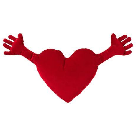 Подушка-игрушка в форме сердца IKEA 40x101 см плюшевая красная