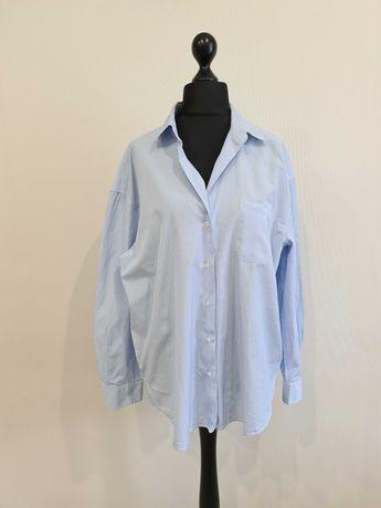 Голубая блуза рубашка в полоску max mara