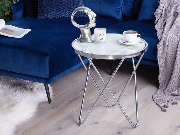 Mesa de apoio efeito mármore com prateado ø 50 cm MERIDIAN II - Beliani