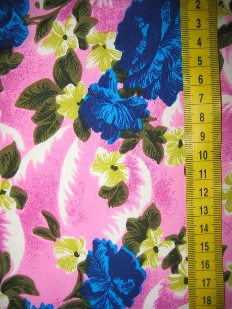 отрез ткань шелк натуральный с цветочным принтом винтаж СССР