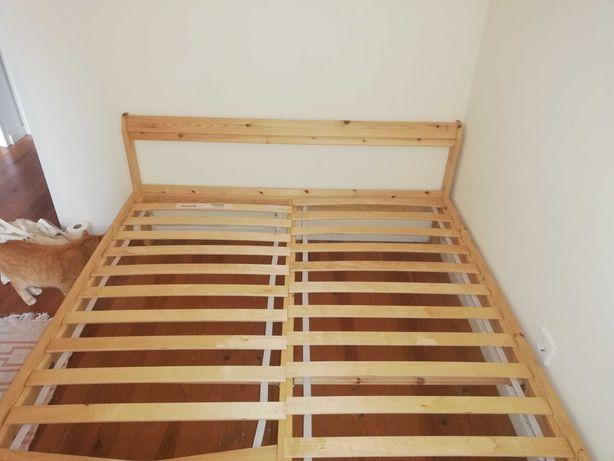 Cama de casal IKEA pinho