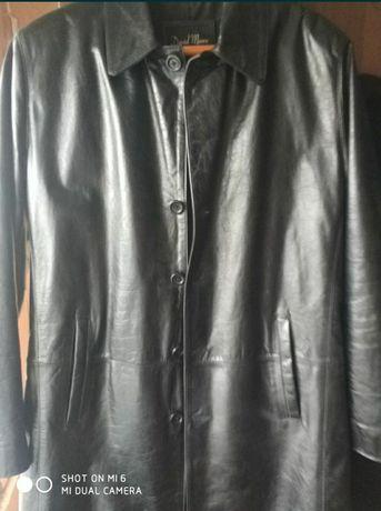 Кожаная куртка френч пальто