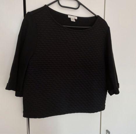 czarna bluzka, rękaw 3/4, crop top