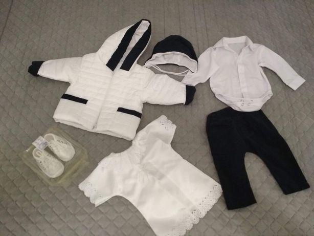 Zestaw ubranko do chrztu kurteczka buciki r. 62