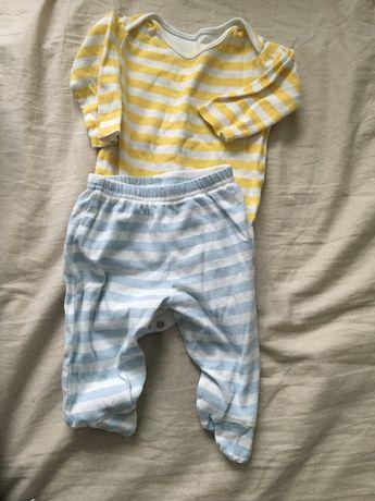 Komplet paski body spodnie 56 62 68 bawełna wyprawka chłopiec