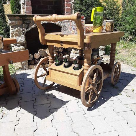 Grill-westernowy pomocnik na kółkach z drewna dębowego