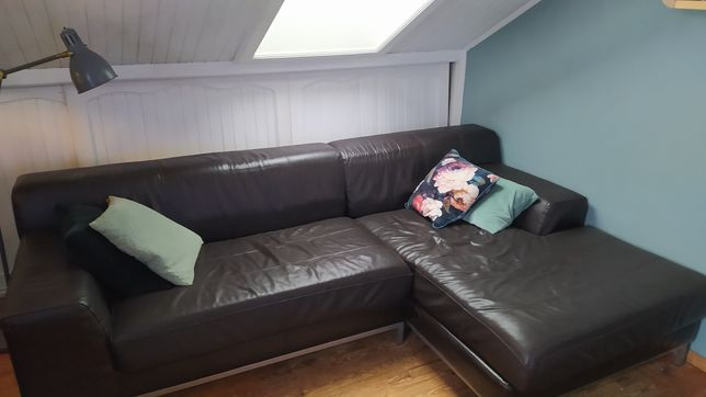 Ikea kramfors skórzana sofa narożnik 2w1 skóra naturalna