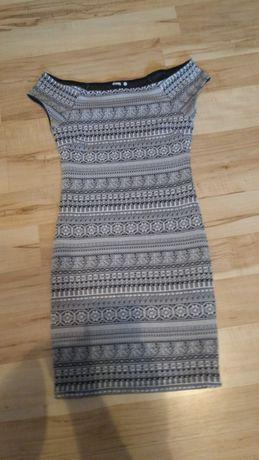 Wzorzysta mini sukienka, krótki rękaw, rozmiar XS