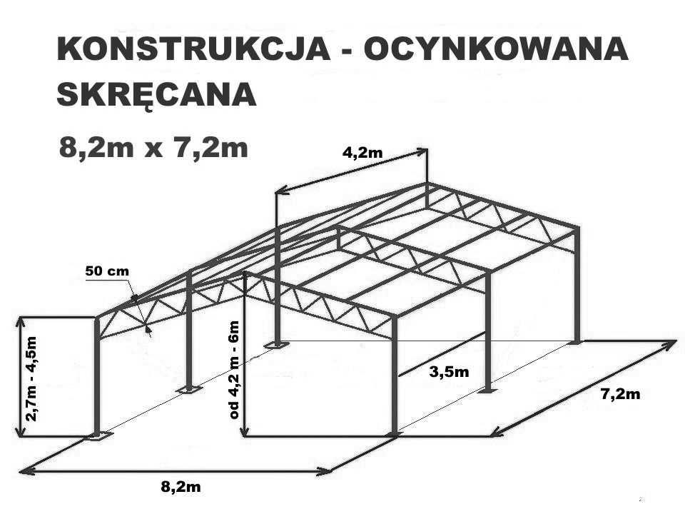 KONSTRUKCJA 8x7,2m Garaż Wiata Skręcana Ocynkowana Magazyn Namiot Hala