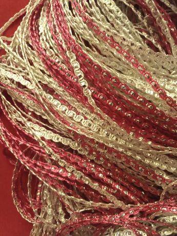 Firany makarony srebrno rozowe