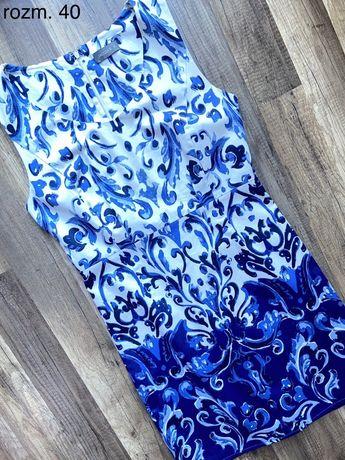 Niebieska bawełniana sukienka w rozm. 40