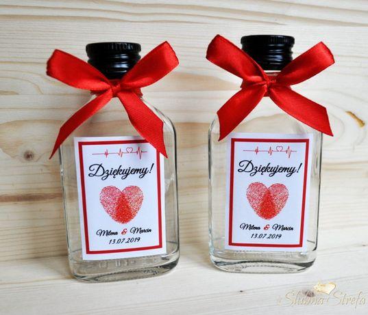 Piersiówka butelka na bimber na alkohol podziękowania dla gości ślub