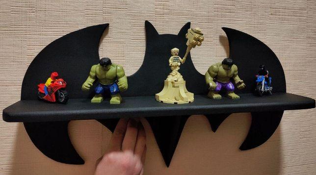 полка бетмен, супермен, полочка, полка деревянная, корона, единорог
