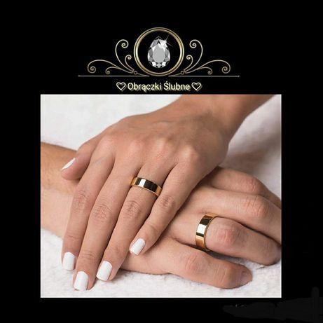Szykowna Para Złotych Obrączek Ślubnych